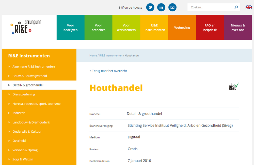 website Ri&E Houthandel